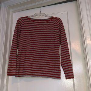 J Crew Long sleeve orange/gray striped shirt